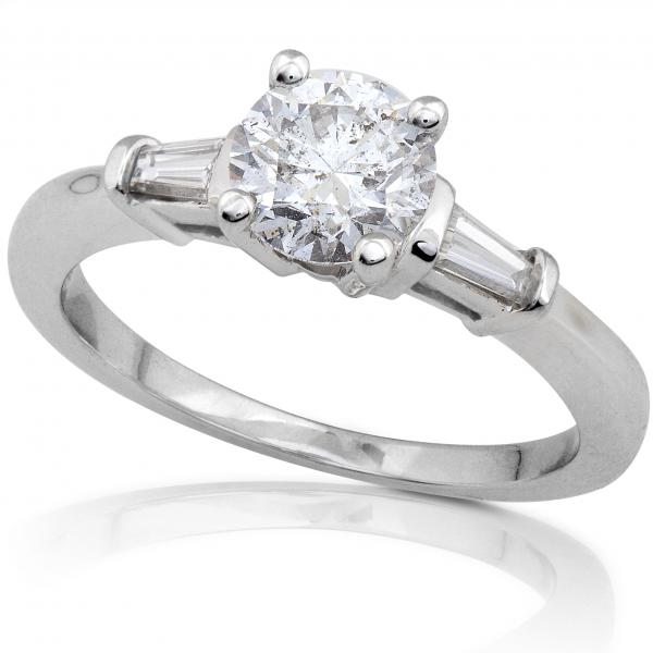 Certified 14K White Gold Engagement ring 1 1/4 carat TW - Click Image to Close